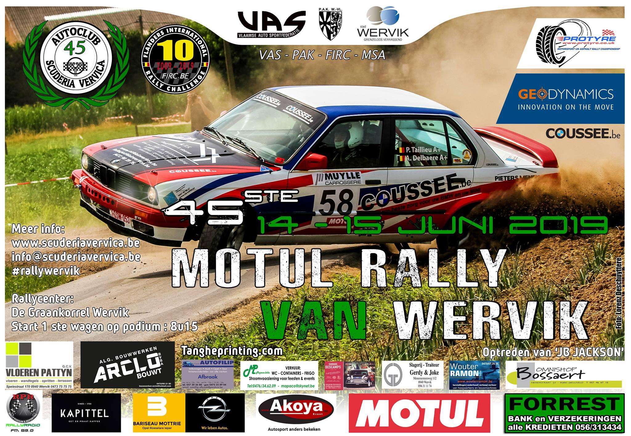 Mooi deelnemersveld in 45ste Rally van Wervik